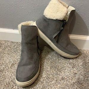 Universal Thread Suede Faux Fur Grey Boots sz 8.5